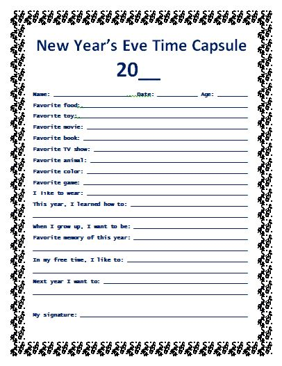 time capsule questionnaire